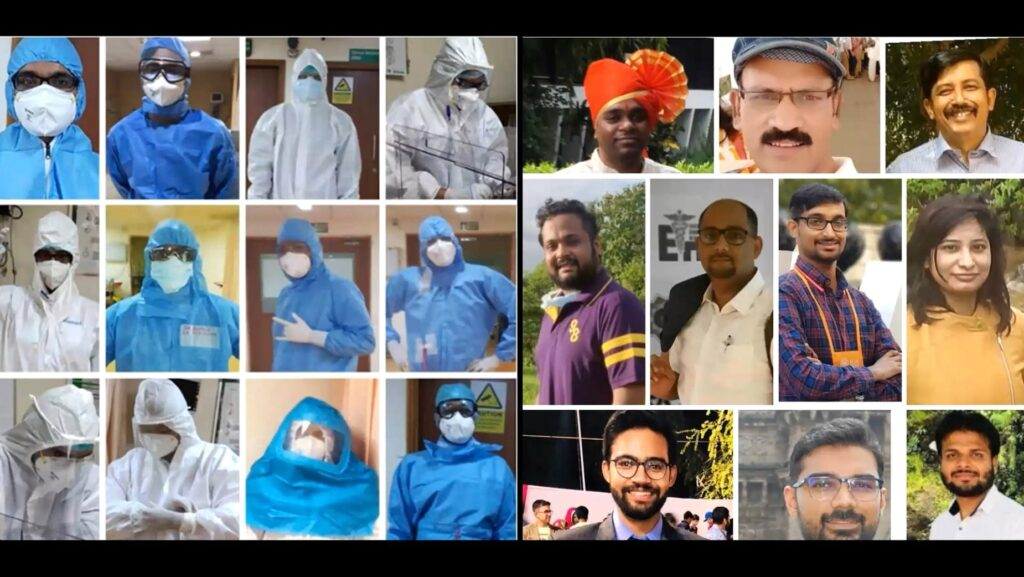 Dr Sandeep Gore's team of doctors in PPE kits (Left) and off PPE kits (Right)