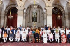 The President Ram Nath Kovind, the Vice President M. Venkaiah Naidu, the Prime Minister Narendra Modi and other members of Council of Ministers at the swearing-in ceremony at Rashtrapati Bhavan in New Delhi