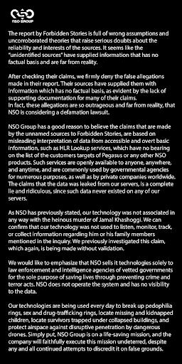 NSO's response to The Pegasus Project by Forbidden Stories